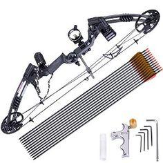 AW Pro Compound Right Hand Bow Kit w/ 12pcs Carbon Arrow Adjustable 20 - 70lbs Archery Set Black : Sports & Outdoors