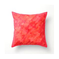 Coral Salmon Pink Red hand-painted decorative pillow colorful accent... ($35) ❤ liked on Polyvore featuring home, home decor and throw pillows