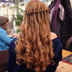 waterfall braid & curls