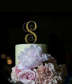 Monogram Cake Topper-Letter S Cake Topper by ManiBox on Etsy
