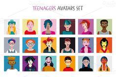 Teenagers Avatars Set by Artica on Creative Market