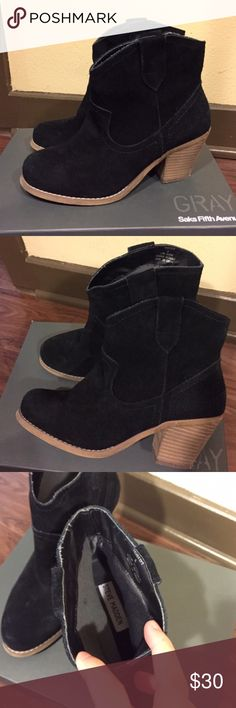"""Steve Madden Black Suede Booties Steve Madden Black Pull On Style Suede Booties. Booties are in used condition with minor scuffs but still has lots of life left and exterior still looks good. Size 6. ❗NOTE: Insoles of booties is coming off and torn (please see last photo). Just purchase a new pair of insoles  to replace it❗Box not included.                                                    ❌Trades ❌Holds ❌ Lowball Offers ✅ Use the """"ADD TO BUNDLE"""" link to get 15% off discount on 2+ items ✅…"""