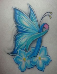 I got this tattoo in honor of my battle with thyroid cancer. The thyroid cancer ribbon is blue, pink, and teal. The thyroid is butterfly shaped, hence the butterfly. The flowers are forget-me-nots so I remember everything Ive been through. Colon Cancer Tattoos, Thyroid Cancer Tattoo, Cancer Survivor Tattoo, Thyroid Cancer Ribbon, Cancer Ribbon Tattoos, Cancer Ribbons, Lung Cancer, Endometriosis Tattoo, Epilepsy Tattoo
