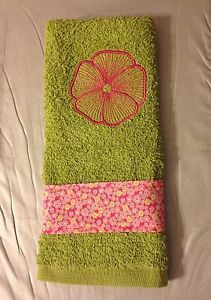 Green and Pink Pretty Hand Towel Embroidered Flower Bath Hand Towels New | eBay