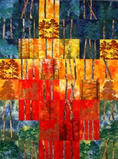 Wildfire! quilt full and detail views by Brenda H Smith.  More inspirational quilts here. Digital printing and thermo screen printing