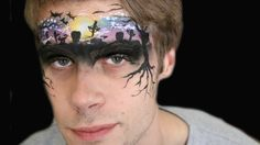 Halloween graveyard face paint tutorial.