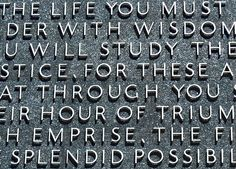 A photographic snippet of the US Supreme Court Justice Benjamin Cardozo's quote on the external wall of UC Berkeley Law School.
