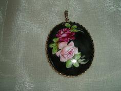 Antique Pendant - Painted Roses