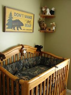 dont wake the bear, camo baby crib