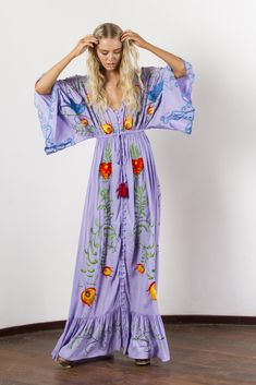 """""""Strange Magic"""" Women's embroidered duster - Lavender Fillyboo - Boho inspired maternity clothes online, maternity dresses, maternity tops and maternity jeans. Maternity Clothes Online, Maternity Dresses, Maternity Jeans, Maternity Tops, Maxi Dresses, Maternity Nursing, Floral Dresses, Kimono Dress, Maxi Dress With Sleeves"""