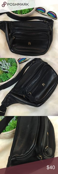 """•Fanny Pack• Vintage Etienne Aigner Black Leather Look at this BEAUTY!!!! Vintage Etienne Aigner Black Leather Fanny Pack Adjustable Hip Bag. Totally awesome and in beautiful condition for a vintage piece!! Nice genuine leather, heavy & well made! Fully adjustable. From a smoke free home!!  Approx measurements of the bag ... Across pouch: 11"""" Top to bottom of pouch: 6.5"""" Width of pouch: 3.5""""-4.5"""" Strap flat (at shortest): 16"""" Strap flat (at longest): 27"""" Vintage Bags"""