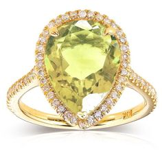 Pear-Shape Lime Quartz and Diamond Engagement Ring 4 1/3  Carat (ctw)... ($750) ❤ liked on Polyvore featuring jewelry, rings, anel, diamond rings, diamond accent ring, engagement rings, pear cut engagement rings and yellow gold diamond rings