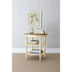 European Cottage - Round End Table in Vintage White - 007-25-09 - living room - Stanley Furniture