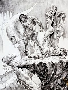 """thebristolboard: """"Original pin-up by Pablo Marcos from The Savage Sword of Conan #84, published by Marvel Comics, January 1983. """""""