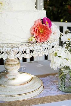 Shabby chic white metal cake stand/Pedestal 16 metal