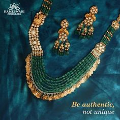 Best Precious Jewelry Designs For The To-Be Brides! Emerald Necklace, Emerald Jewelry, Gold Jewelry, Beaded Jewelry, Diamond Jewellery, Gold Necklace, Fancy Jewellery, Stylish Jewelry, Pearl Jewelry