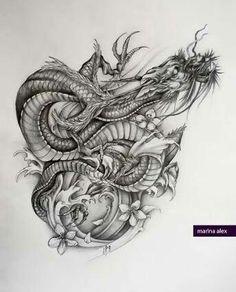 Marina Alex dragon forearm tattoo.