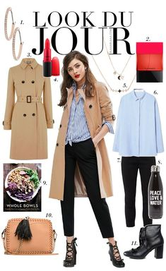 Look Du Jour. Blue stiped shirt+black ankle pants+black lace-up ankle heels+camel trenchcoat+blush chain shoulder bag+gold jewelry. Spring Business Casual Outfit 2017 Outfits with heels blushes Look Du Jour: Bowling Trent Coat, Mode Outfits, Fashion Outfits, Coats For Women, Jackets For Women, Bowling Outfit, Trench Coat Outfit, Camel Coat, Black Ankle Pants