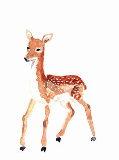 DEER BAMBY Origninal watercolor painting by Mydrops on Etsy