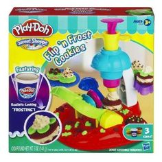 Play-Doh Sweet Shoppe Flip 'N Frost Cookies Set by Play-Doh. $11.99. Playset comes with 2-piece extruder; cookie shelf; 2 cookie half-molds; plate; instructions. Use the Play-Doh Plus compound to make realistic-looking frosting. Play-Doh Plus compound is easier to squeeze and has a softer; smoother texture. Includes 2 cans of Play-Doh modeling compound and 1 can of Play-Doh Plus compound. Serve your creations on the plate. From the Manufacturer                Shape, flip and fros...