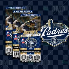 Ticket Style San Diego Padres Baseball Sports Party Invitations #baseball #invitations #savethedate #babyshower #birthdays