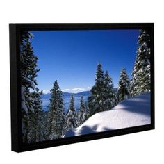 Kathy Yates Lake Tahoe In Winter Floater-Framed Gallery-Wrapped Canvas, Size: 16 x 24, White