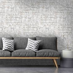 Brick Effect Wallpaper, Stone Wallpaper, Grey Wallpaper, Palette Furniture, Home Decor Furniture, Sofa Furniture, Brick Interior, Interior Design, Whitewash Brick Backsplash