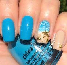 Over 50 tropical nail art designs to keep heads turning in your direction - nails - New Nail Art, Cute Nail Art, Tropical Nail Art, Tropical Nail Designs, Tropical Design, Beach Nail Art, Beach Toe Nails, Ocean Nail Art, Sand Nails