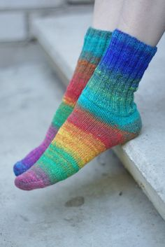 Hand knitted women wool Socks colorful striped autumn by SockClub, $49.00