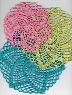 """Easy and quick-to-stitch doilies! Pattern set includes 3 matching doily patterns that measure 5 1/2 (6 3/4, 7 1/2)"""" in diameter. Doilies are shown using size 10 crochet thread and U.S. size 7/1.65mm steel crochet hook."""