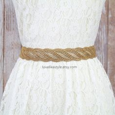 Gold Metallic Lace with Satin Ribbon Sash  Bridal by lovelikestyle