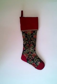 Upcycled Christmas Stocking Gold and Burgundy by debupcycles   Use Coupon Code PIN10 for 10% off anything at Deb Upcycle!
