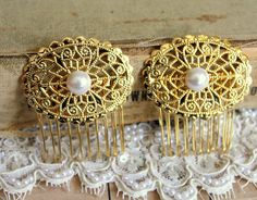 Lace and pearls   bridal hair comb  Victorian shabby by iloniti, $48.00