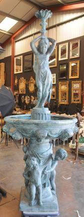 8 ft Italian Bronze Fountain Cheurb Maiden Fountains