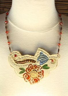 Ceramic Floral Red Faceted Crystals Ethnic Bib by HeliHelmed, $29.00