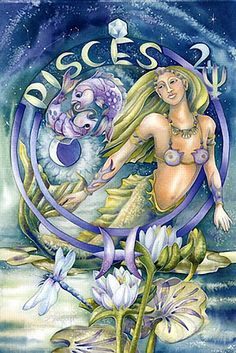 ♓ Pisces:  Pisces is the most psychic sign of the zodiac. As the twelfth sign they have walked in the footsteps of every other sign (may be the cause of their feet problems!) and instantly know how to empathise with others, comfort them and understand them. Also psychic sponges, Pisces soaks up the moods of those in their company. They can easily perceive messages from the paranormal, especially in dreams. (The Psychic Zodiac@darkmoontarot.tumblr.com)
