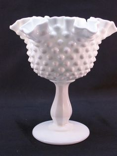 Vintage Fenton Milk Glass Hobnail Compote Unmarked Opaque White Double Crimp by GarageSaleGlass, $24.99
