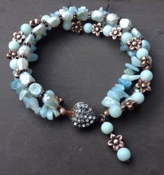 Amazonite, fresh water pearl and copper