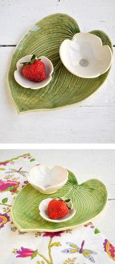 Lee Wolfe Pottery — handmade ceramic serving set flower and leaf