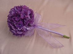 Photos of Hydrangea Floral bouquets | single stem of hydrangea wrapped with lilac satin ribbon and ...