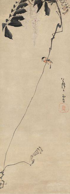 長沢芦雪 Nagasawa Rosetsu | Bird on Wisteria Branch. Edo period. Eighteenth century. Burke Collection. MIA.