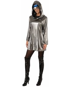 Womens Sexy Silver Futuristic Space Astronaut Alien Hoodie Costume Accessory