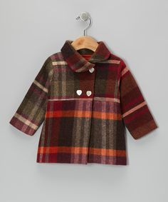 Red Plaid Wool Double-Breasted Coat - Infant & Toddler by Petit Confection #zulily #zulilyfinds