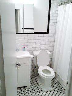 Love @Laura Jayson Jayson Fenton's new bathroom! Subway tile and vintage hex floor tile, very smart.