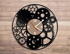 Amazon.com: Mechanism vinyl record wall clock: Home & Kitchen Record Wall, Pebble Stone, Wooden Clock, Sheet Metal, Scroll Saw, Room Paint, Vinyl Records, Wood Crafts, Woodworking