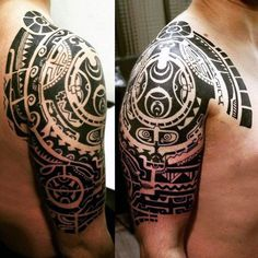 Upper Arm Maori Art Tattoos For Men