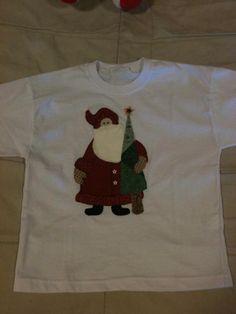 Camiseta p o Natal, com aplicação em patchwork