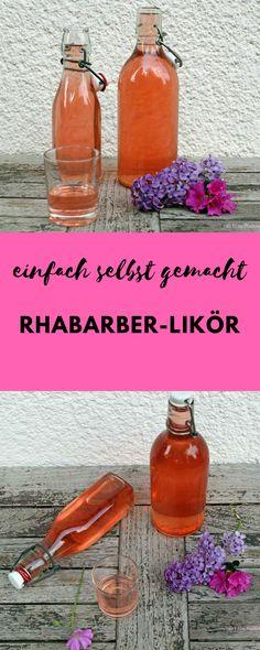 Rhabarber-Likör mit Vanille schmeckt lecker pur oder als Rhabarber-Spritz im Prosecco. Likör selber machen ist ganz einfach. #rhabarber #likör #cocktail