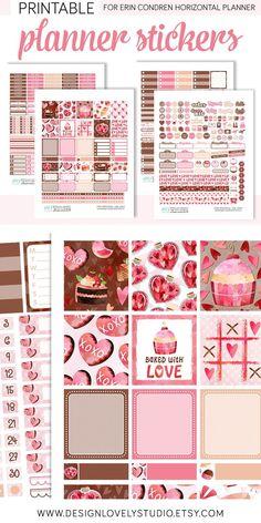 Happy Planner or any planner! Pink Valentine Planner Sticker Kit for your Erin Condren Life Planner