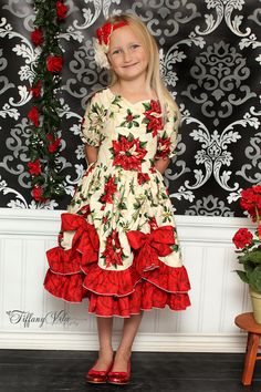 The Tori sewing pattern from Create Kids Couture is a perfect dress for your sweetie! It features a fitted bodice with a sweetheart neckline, shirred back, and a double layer skirt with pickups and big bows. Just divine.